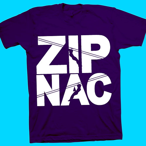 Zip Nac T-Shirt With stacked logo no back in white