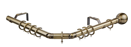 Nikola Antique Brass 28mm Complete Bay Pole Set