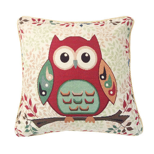 Red Owl On Branch Tapestry