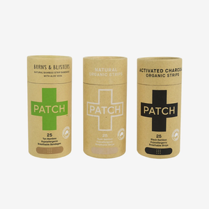 Three options of Patch, biodegradable bamboo bandages. These bandages are vegan and fragrance-free.