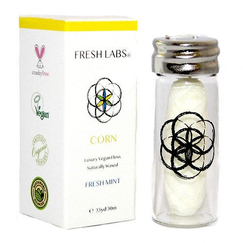 Fresh Labs Biodegradable Vegan Dental Floss With Refillable Glass Holder