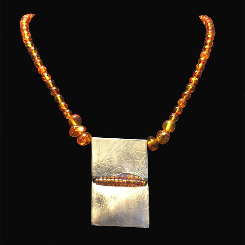 Hollow Folded Rectangle with Amber Bead Necklace