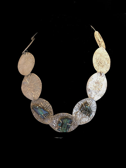 Silver Coins with Paua Shell Necklace