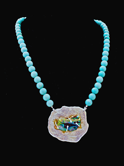 Silver Coin with Paua Shell Necklace