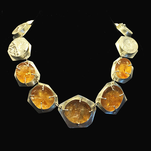 Citrine with Reticulation Hollowform Necklace