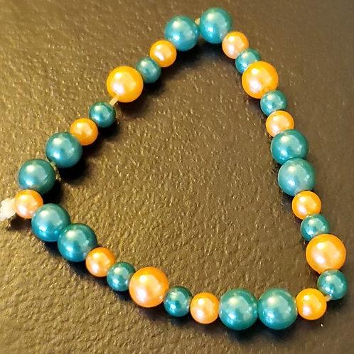 Green & Orange Pearl Bracelet