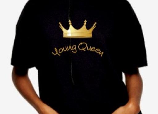 'Young Queen' Short Sleeve Black Tee