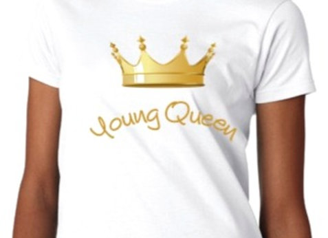 'Young Queen' Short Sleeve White Tee