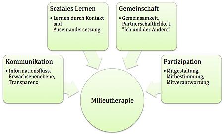 Grafik, worauf die milieutherapeutischen Ansätze zu sehen sind.