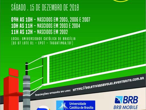 Seletiva Categorias de Base Vôlei Masculino do Brasília Vôlei. Sábado 15/12 - 09:00 horas.