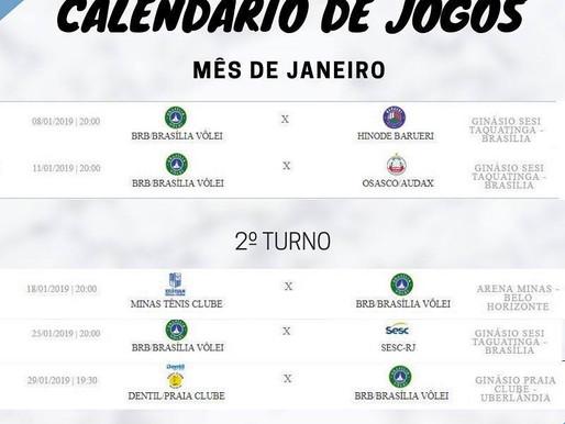 Calendário dos Jogos do BRB - Brasília Vôlei - Janeiro 2019.