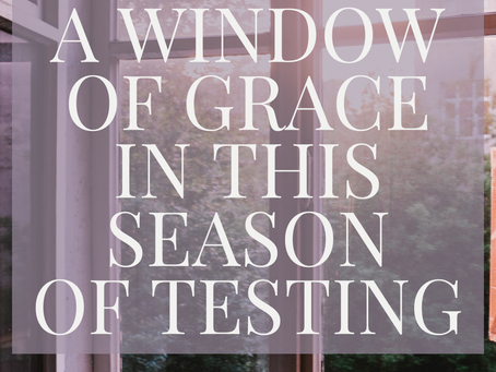 A WINDOW OF GRACE IN THIS SEASON OF TESTING.