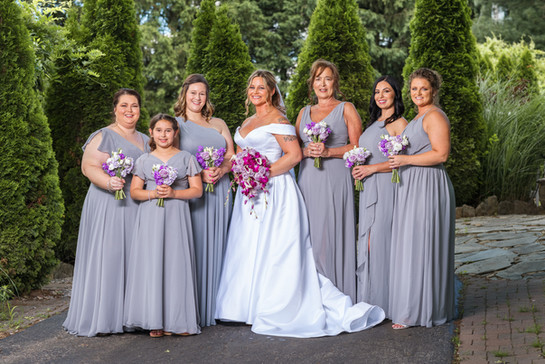 Bride and Bridesmaids at the Cabin