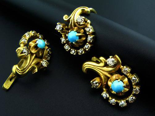 סט עגילים וטבעת ארט-נובו