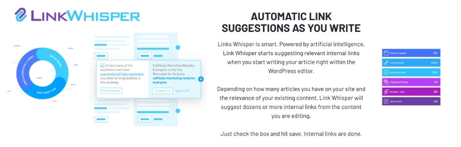 LinkWhisper helps you find and connect related posts on your site