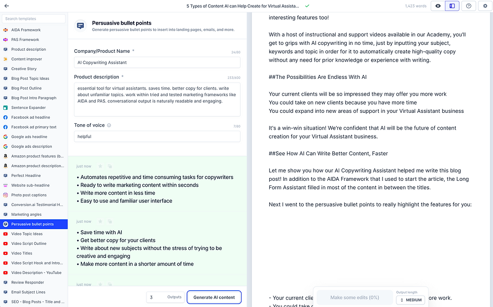 Persuasive Bullet Points and Long Form Assistant