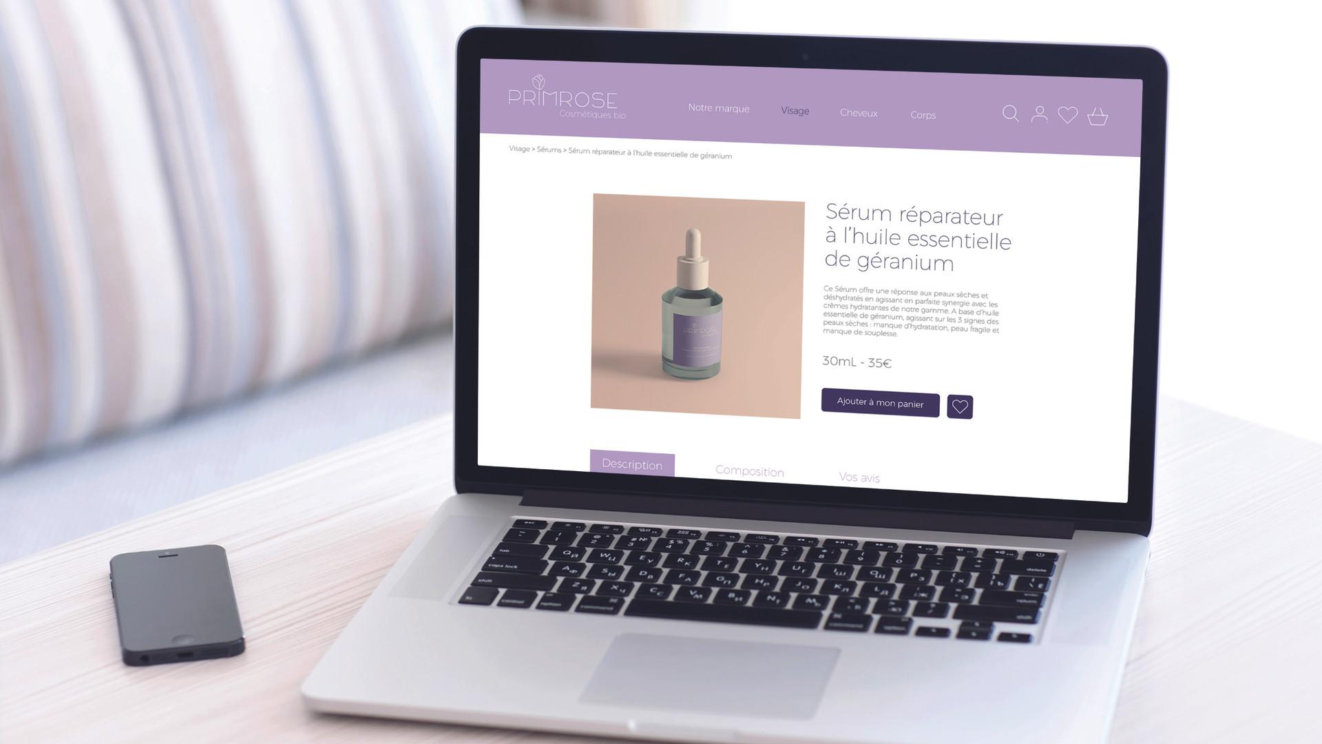 Webdesign page produit Primrose