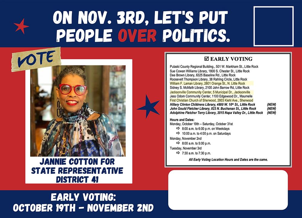 Candidate Jannie Cotton Mailer - Elect Jannie Cotton, State Representative District 41