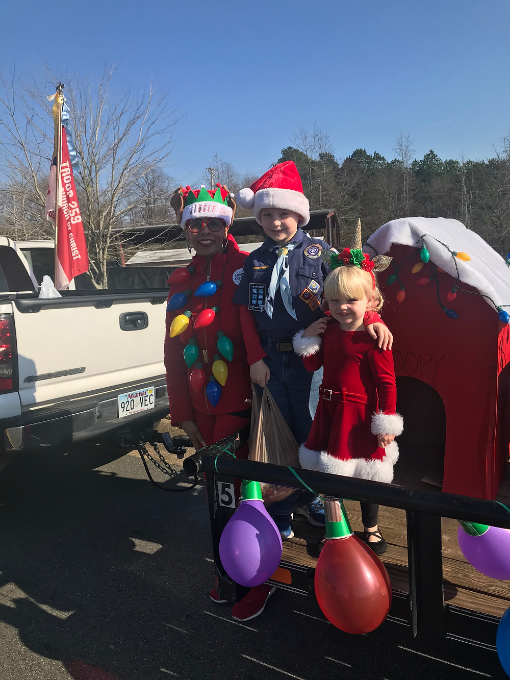 Candidate Jannie Cotton and Santa's helpers at the Sherwood Annual Christmas Parade
