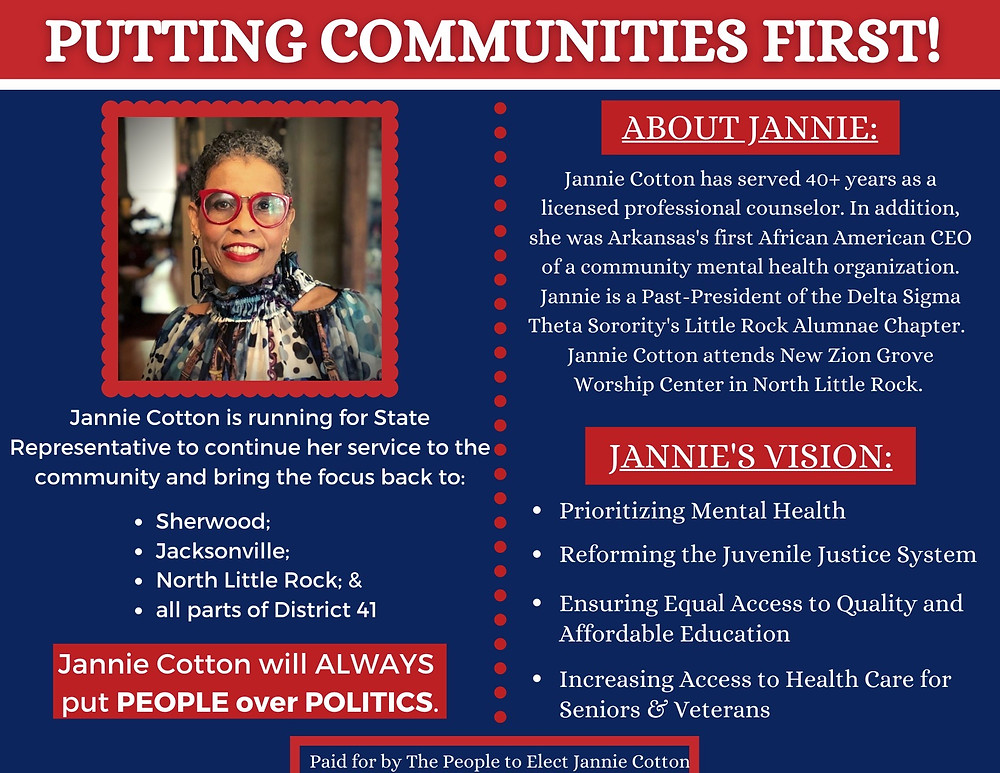 Jannie Cotton 'Putting Communities First' postcard