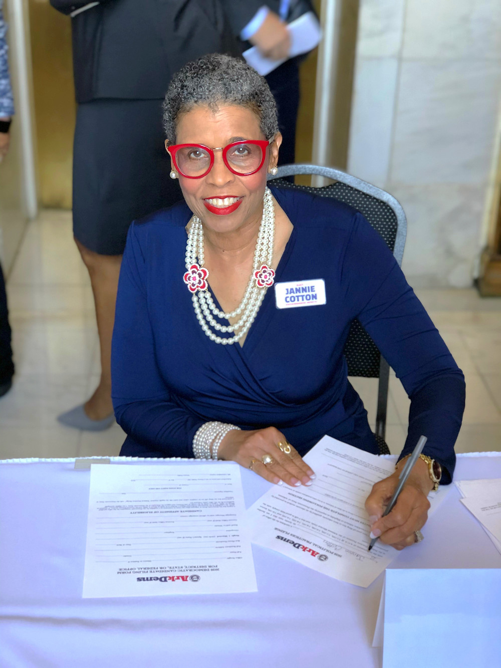 Jannie Cotton officially files to run for office at the Arkansas State Capitol Building