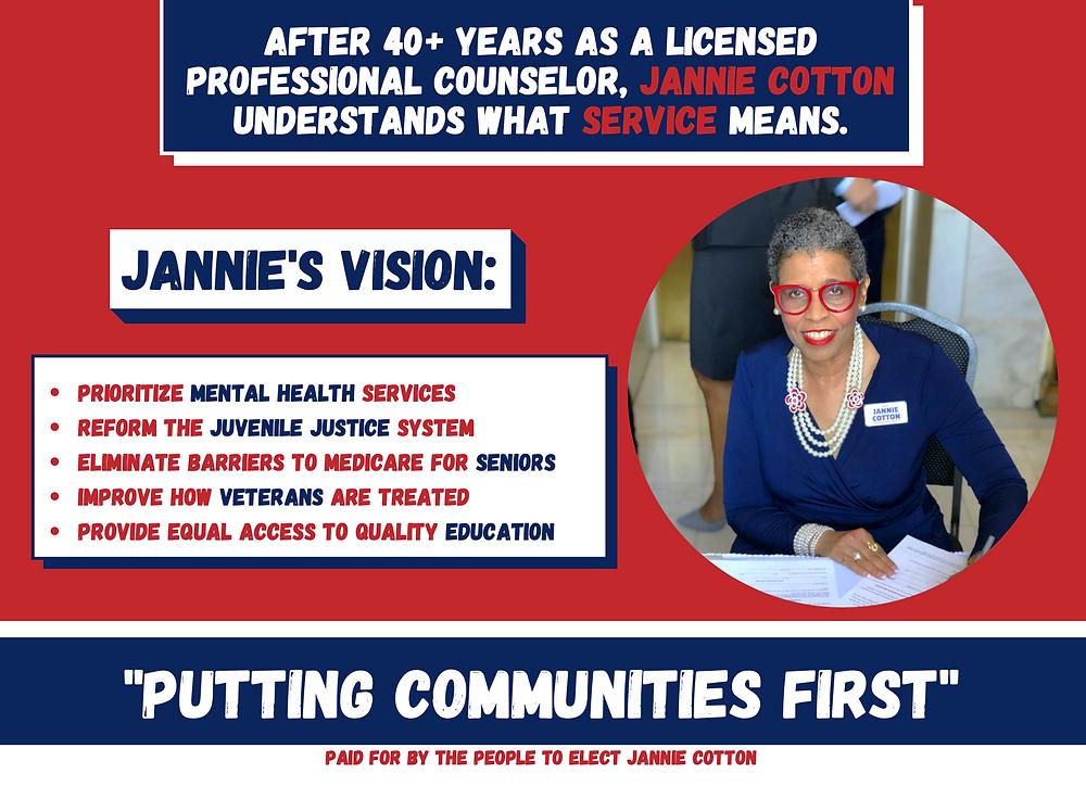 Candidate Jannie Cotton Mailer -Vote Jannie Cotton, State Representative District 41
