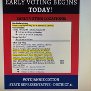 An early voting sign