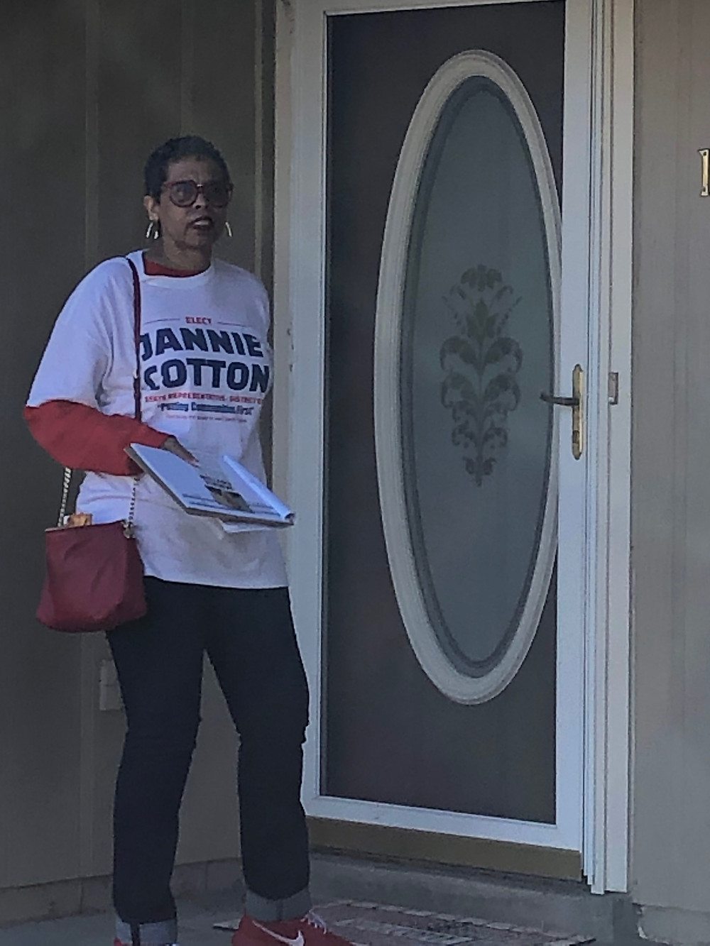 Candidate Jannie Cotton in action canvassing and knocking on doors.