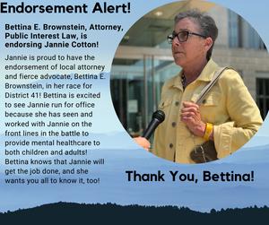 Bettina E. Brownstein, Attorney, Public Interest Law Endorses Candidate Jannie Cotton