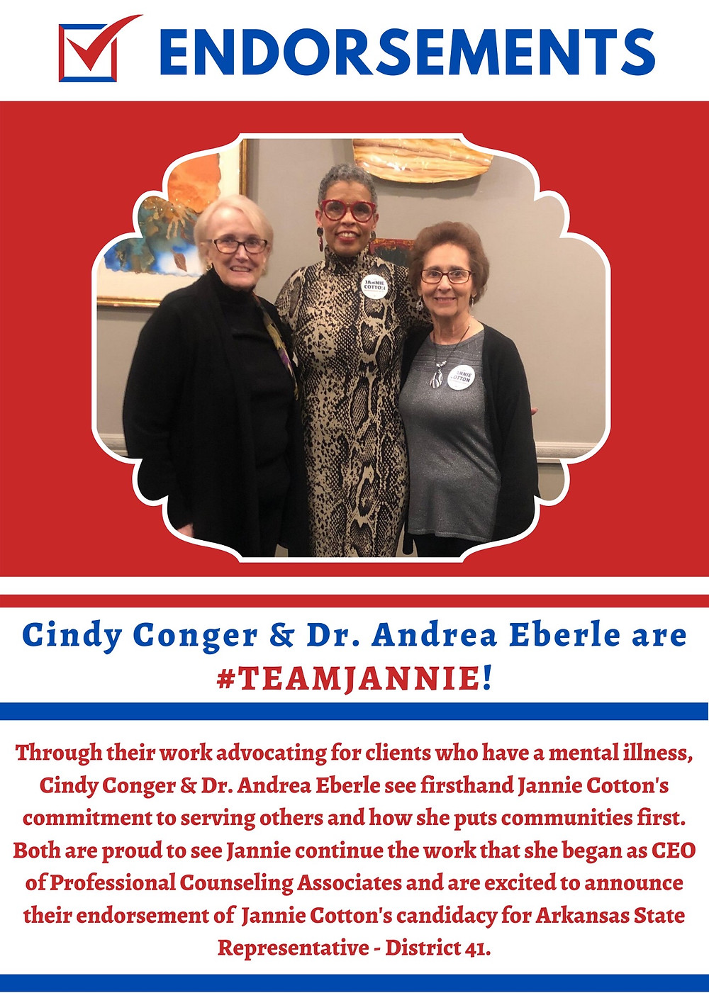 Cindy Conger & Dr. Andrea Eberle with Candidate Jannie Cotton
