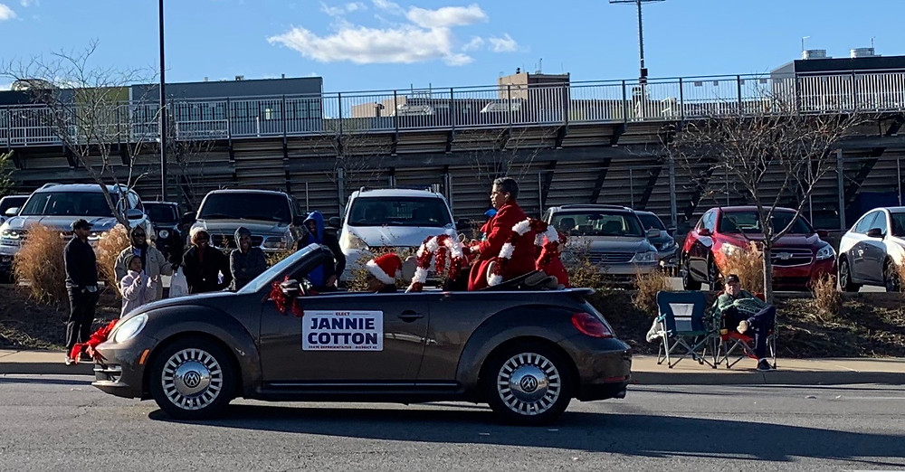 Jannie Cotton riding in the North Little Rock Sertoma Christmas Parade 2019