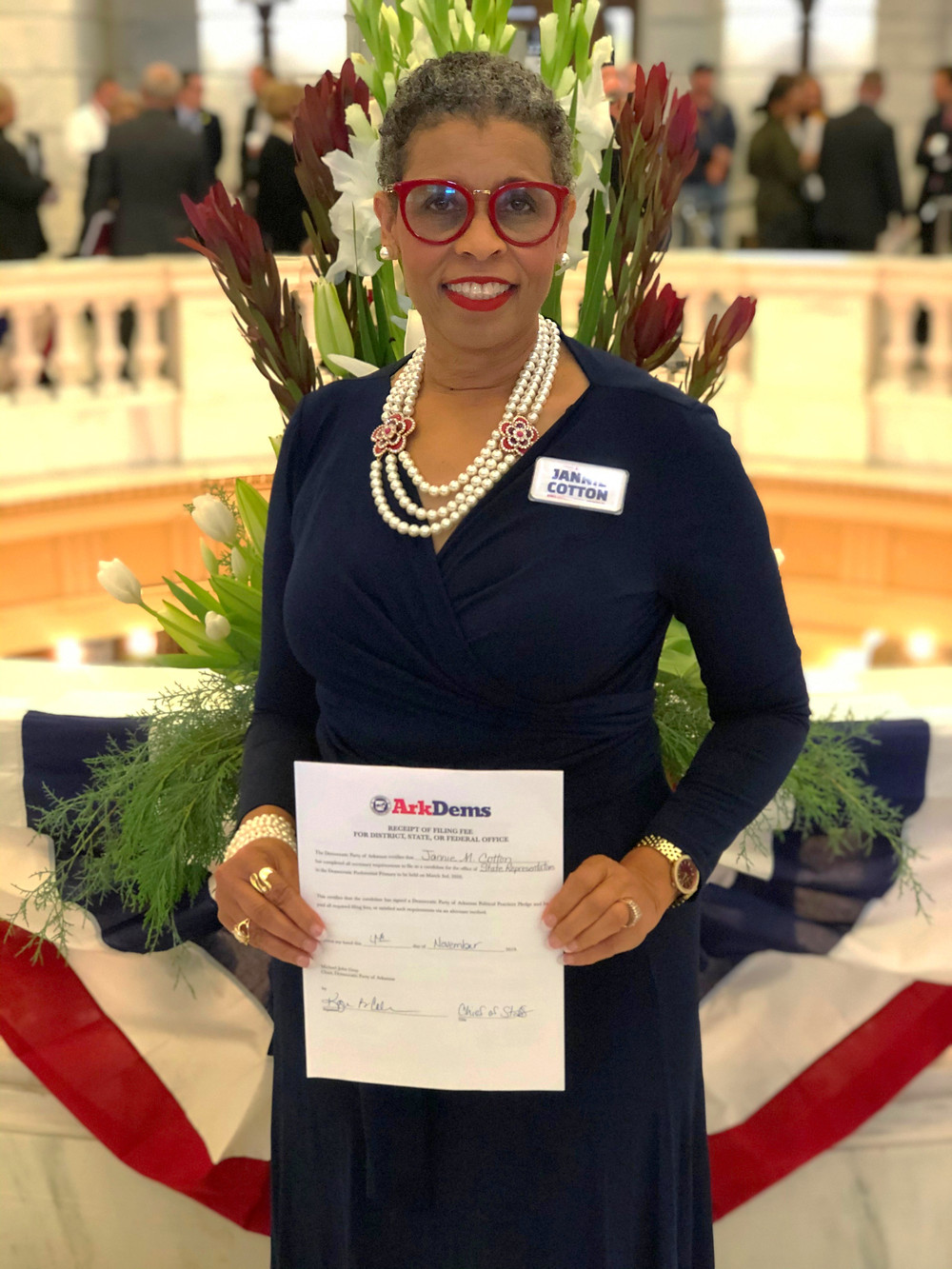 Jannie Cotton officially files to run for State Representative of District 41 at the Arkansas State Capitol Building