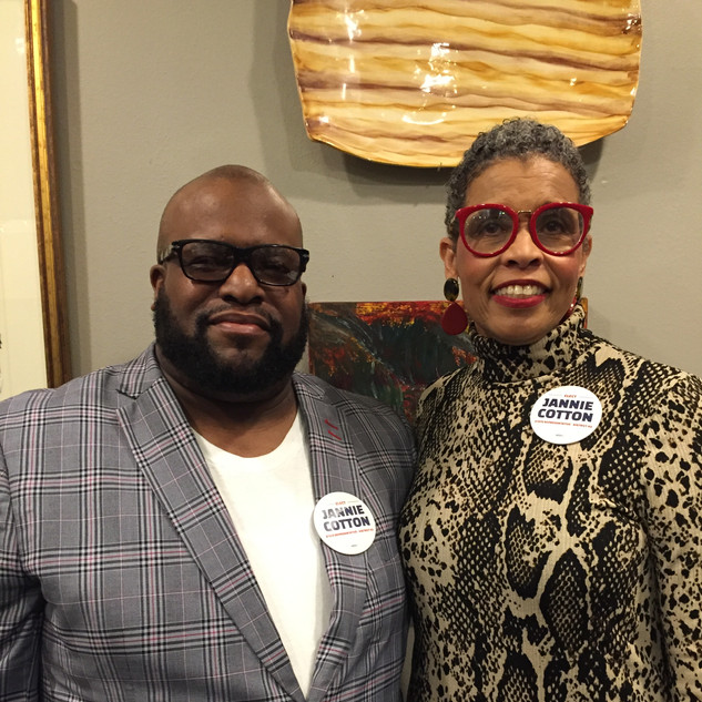 Pastor Stevie T. Robinson of New Zion Grove Worship Center and Candidate Jannie Cotton