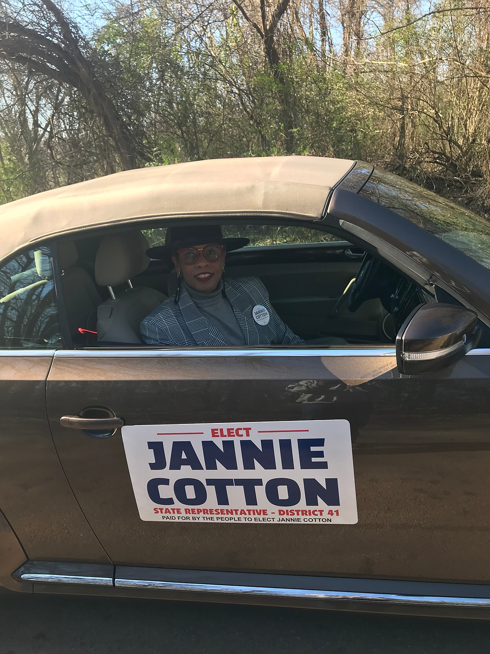 Candidate Jannie Cotton running for State Representative District 41 driving in the 2020 Dr. Martin Luther King Jr. Marade