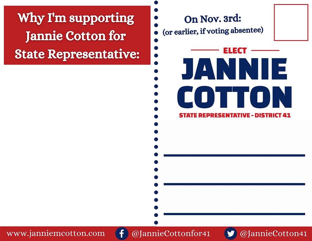 Jannie Cotton 'Putting Communities First' postcard support message