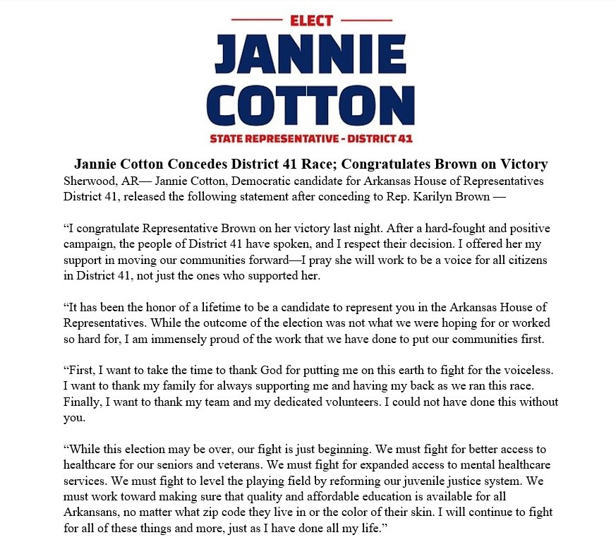 Candidate Jannie Cotton's official press release
