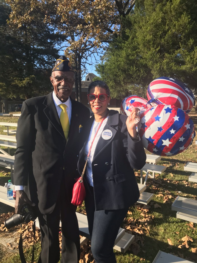 Candidate Jannie Cotton and a Veteran
