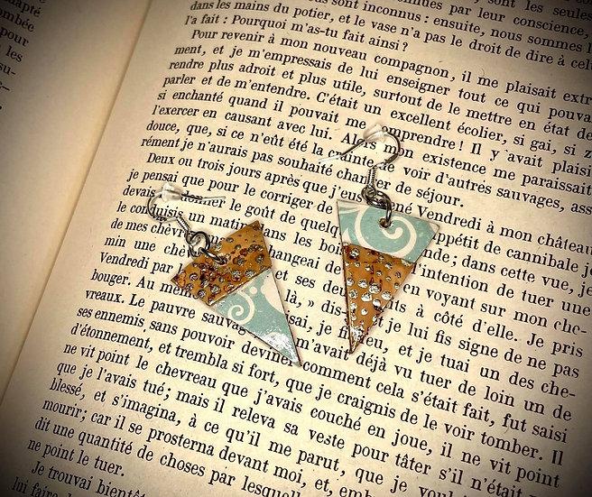 Boucles d'oreilles Cuir de liège - Tourbillon d'amour