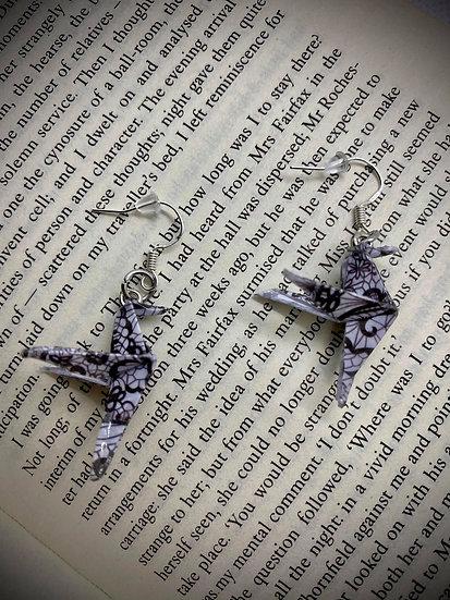 Boucles d'oreilles colibris dentelle noire