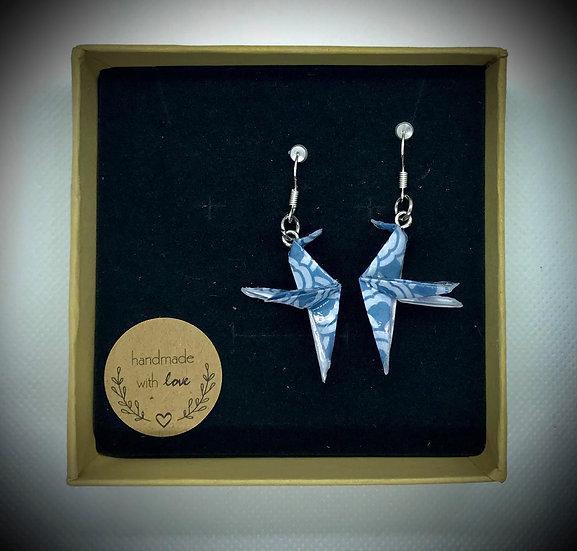 Boucles d'oreilles colibris bleus