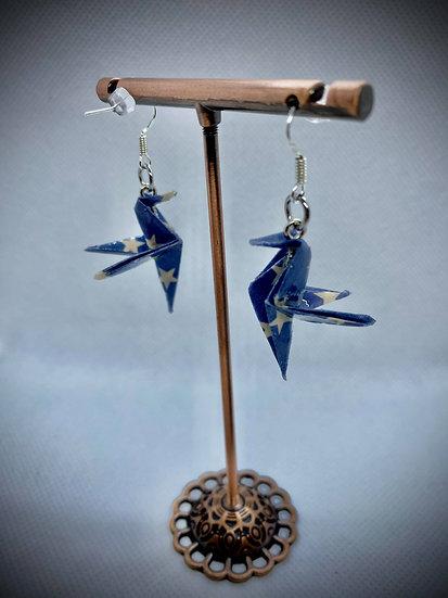 Boucles d'oreilles colibris bleu marine étoiles