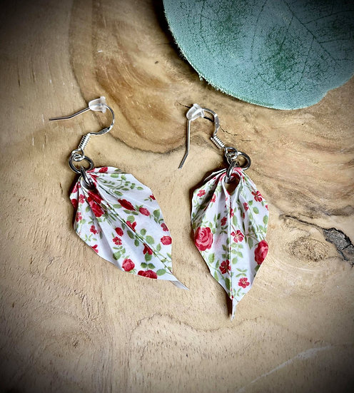 Boucles d'oreilles Origami Feuille - Bouquet de Roses