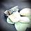 Thumbnail: Bracelet Jonc Acier et Papier - Bleu Marine Feuillage d'Or