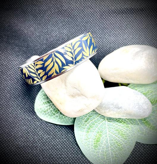 Bracelet Jonc Acier et Papier - Bleu Marine Feuillage d'Or