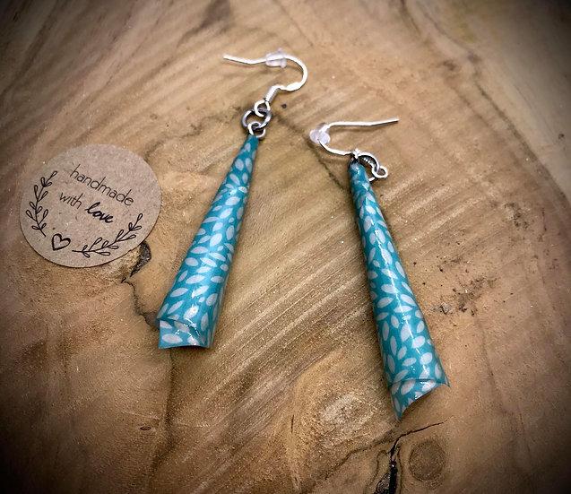 Boucles d'oreilles Papier Roulé Turquoise et Blanc