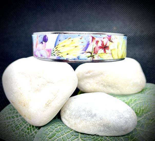 Bracelet Jonc Acier et Papier - Fleurs de Cactus