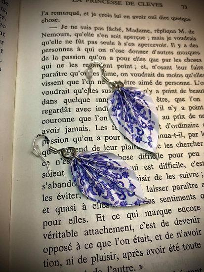 Boucles d'oreilles Feuilles  Porcelaine chinoise Bleue