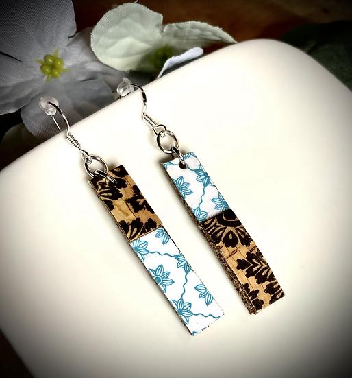 Boucles d'oreilles Papier et Liège - Fleurs Turquoises