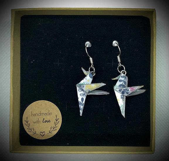 Boucles d'oreilles colibris Fleuri