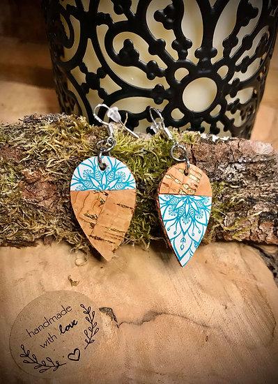 Boucles d'oreilles Cuir de liège Mandala Turquoise